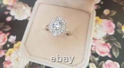 Vintage Fiançailles Bague Art Déco Anneau Fiançailles Diamant 10kt or Blanc
