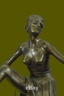 Vintage Français Hot Peint Bronze Art Nouveau Danseuse Dame Figurine Sculpture