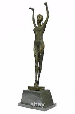 Vintage Grand Art Déco Dancer Dimitri Chiparus Bronze Sculpture Signé Figurine