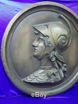 Vintage Grand Art Nouveau Reliefplatte Déité Profildarstellung Rundrelief