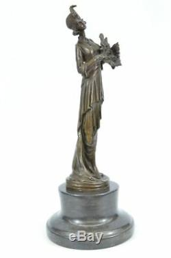 Vintage Grand Chair Dancer avec Plume Chiffon Bronze Art Nouveau Sculpture Statu