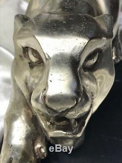 Vintage Incroyable Argentés Bronze Guépard Sauvage Animal Grand Chat Marbre Base