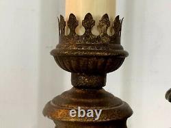 Vintage Laiton Double Bouillotte Art Nouveau Style Électrique Table Lampe