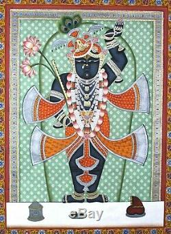 Vintage Lord Shreenathji Pichwai Fin Art Travail Tenture Murale Décoratif Main