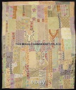 Vintage Lourd Perlé Patchwork Tenture Murale Lit Housse Indien Tapisserie Art