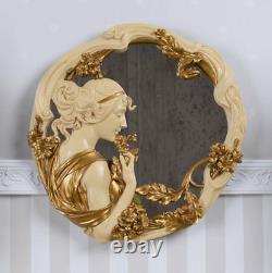 Vintage Miroir Art Nouveau Buste Relief Femmes Belle Epoque Miroir Mural