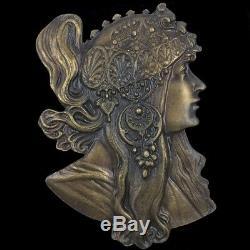 Vintage Nos Années 70 Byzantin Brunette Alphonse Mucha 1897 Art Nouveau Rare