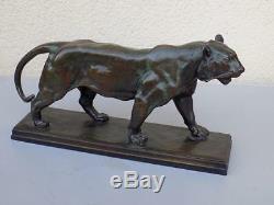 Vintage Original Art Nouveau Bronze Lion Tigre Marche Sign. Barye Skupltur 20. JHD