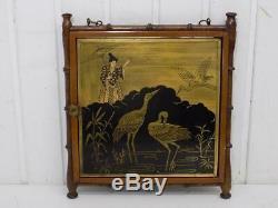 Vintage Rare Art Nouveau Miroir Mural Japon Bois Peinture Art Asiatique 20. JHD