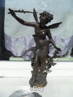 Vintage STATUE ART NOUVEAU 1900 par L Moreau Femme Fée aux Fleurs