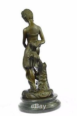 Vintage Semi Nu Érotique Romain Fille Bronze Sculpture Art Nouveau Déco Figurine