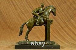 Vintage Signé Jockey Équitation Bronze Sculpture Art Statue Figurine Décoratifs