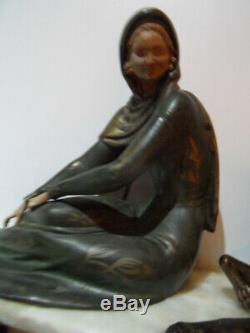 Vintage Statue art nouveau Chryselephantine Elegante au levrier barzoi by LEDUCQ