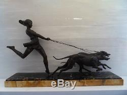 Vintage Statue art nouveau Fille aux levriers greyhounds and girl by Geo Maxim
