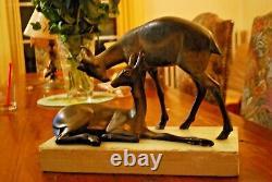 Vintage Statue french art nouveau Gazelle Antilope en régule