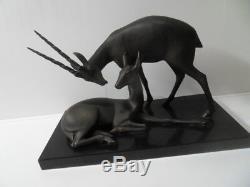 Vintage Statue french art nouveau Gazelle Antilope signé by Geo Maxim antelope