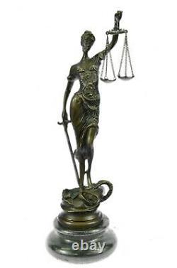 Vintage Store Lady Justice Bronze Statue Fonte Sculpture Art Déco Figurine