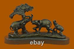 Vintage Style 100% Véritable Bronze Sculptural Éléphants Figurine Statue Art