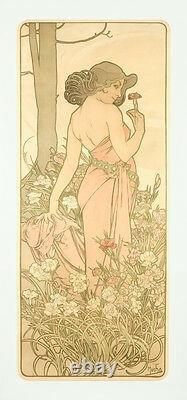 Vintage Style Alphonse Mucha Affiche Géant Autocollant Art Nouveau Fleurs illet
