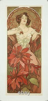Vintage Style Alphonse Mucha Affiche Géant Autocollant Art Nouveau Rubis Rouge