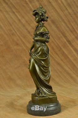 Vintage Victorien Art Nouveau Artiste Signé Bronze Patine Spelter Fonte Décor