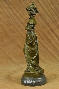 Vintage Victorien Art Nouveau Artiste Signé Bronze Patine Spelter Hot Fonte Déco