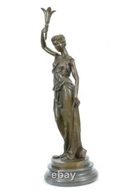 Vintage Victorien Maiden Jardin Fleurs Bronze Marbre Statue Sculpture Art Déco