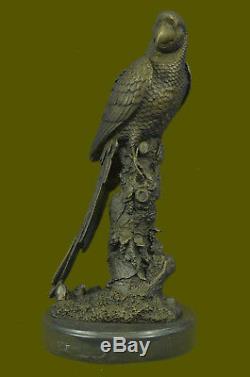 Vintage Vienna Bronze Oiseau Perroquet sur Chaîne Figurine Autriche Art Déco de