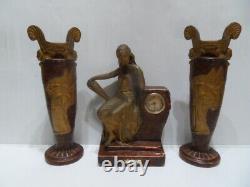 Vintage art nouveau clock uhr pendule horloge cheminée vase L'Egyptienne Bercé