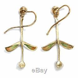 Vintage boucles d'Oreilles Art Nouveau formes 333 Gold TOURMALINE & PERLE Gui