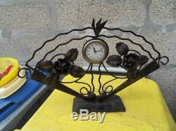 Vintage clock uhr pendule horloge mecanique art nouveau fleurs style eventail