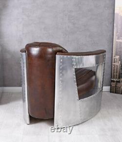 Vintage fauteuil club aluminium épais cuir Art Deco avion DC3 cadre en bois neuf