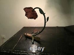 Vintage lampe art nouveau rosiers en fer forgé polychrome tulipe en rose