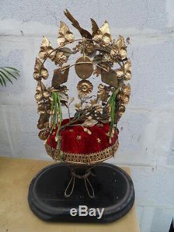 Vintage married globe verre mariés XIXe Napoleon art nouveau plaque ST Antoine