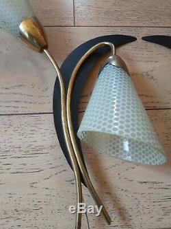 Vintage paire applique 50s arlus lunel stilnovo tulipe en verre métal et laiton