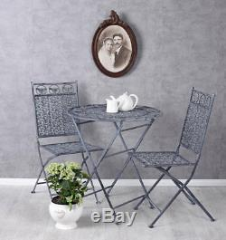 Vintage salons de jardin table & deux chaises antique style ensemble de meubles