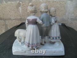 Vintage statue enfants moutons porcelaine Wilhelmsfeld Goebel Kinder und Schafe