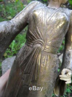 Vintage statue femme elegante bronze chryselephantine art nouveau