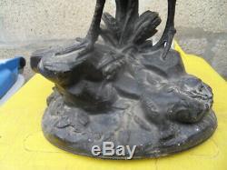 Vintage statue fonte d'art by P. Comolera art nouveau coq de bruyere ou perdrix