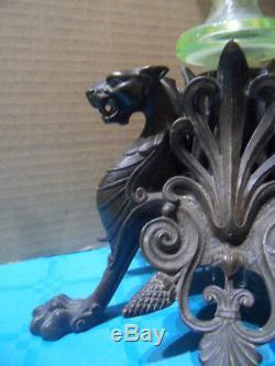 Vintage vase cornet ouraline centre de table griffon bronze NAPOLEON art nouveau