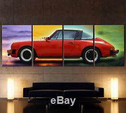 XXL Pop Art Rouge Porsche 911 Toile Image Vintage Targa Classique Nostalgie Déco